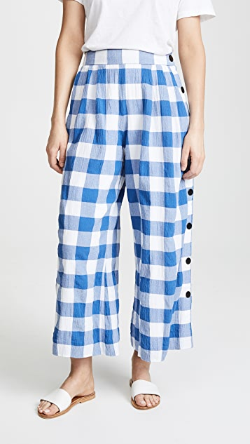Mara Hoffman Angie Gingham Pants - White Blue