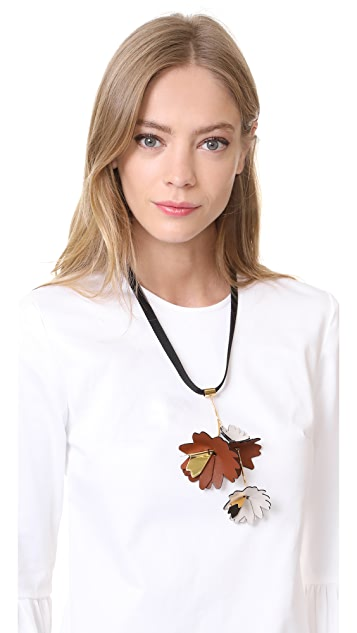 Marni Leather Flowers Necklace