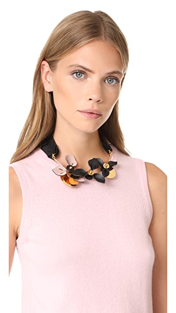 Marni Necklace with 3 Leather Flowers