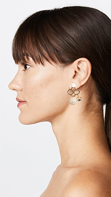 Marni Metal Horn Strass Earrings