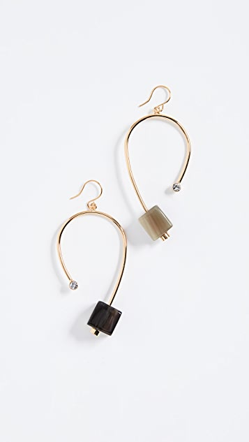 enamel gold and metallic jewelry marni lyst resin plated earrings in