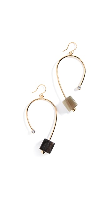 Marni Horn & Strass Cube Earrings