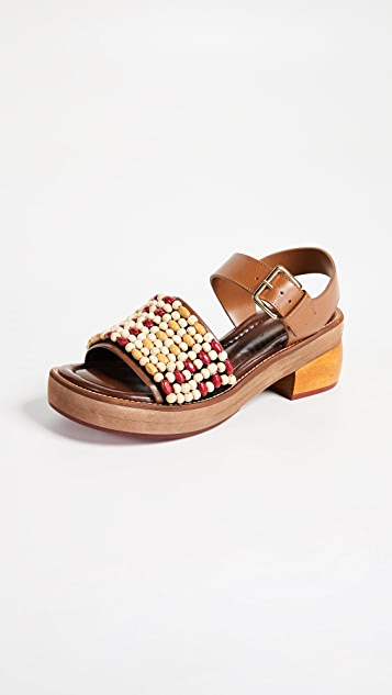 Marni Wood & Leather Sandals - Red