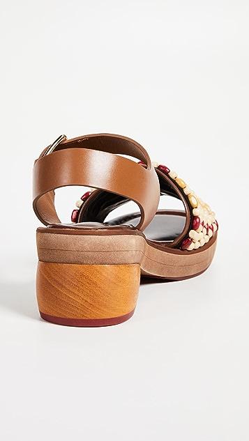 Marni Wood & Leather Sandals
