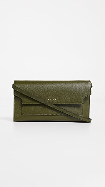 Marni Cross Body Wallet Bag - Olive Green/Gold Brown