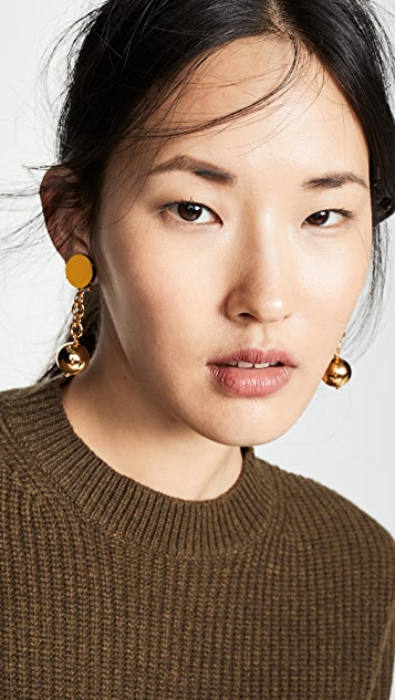 Marni Leather and Metal Linear Drop Earrings