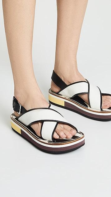 Marni Пляжные туфли на танкетке с перекрещенными ремешками