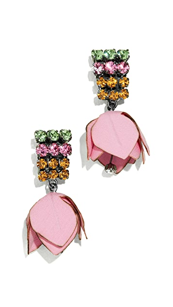 Marni Flower and Strass Earrings