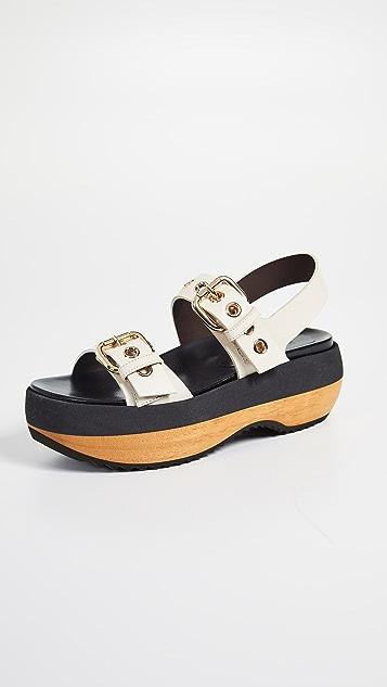 Marni Wedge Buckle Sandals - White Silk