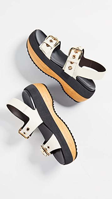Marni Wedge Buckle Sandals