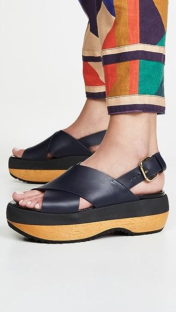 Marni Wedge Slingback Sandals