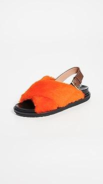 Shearling Fussbett Sandals