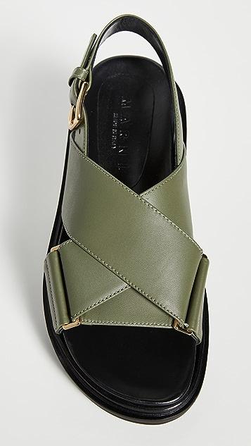 Marni 皮交叉凉鞋