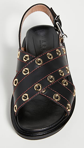 Marni Crisscross Grommet Sandals