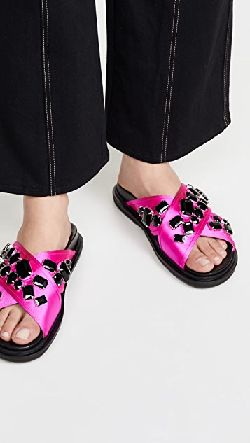 Marni Crystal Embroidered Crisscross Sandals