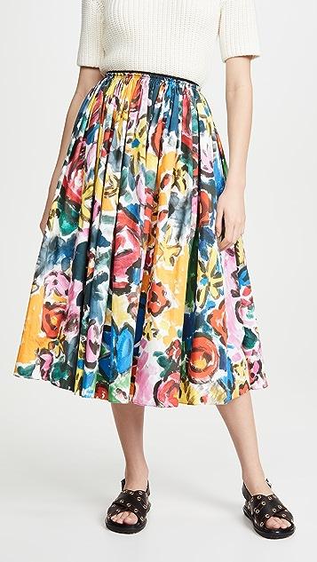 Marni 印花喇叭形中长半身裙