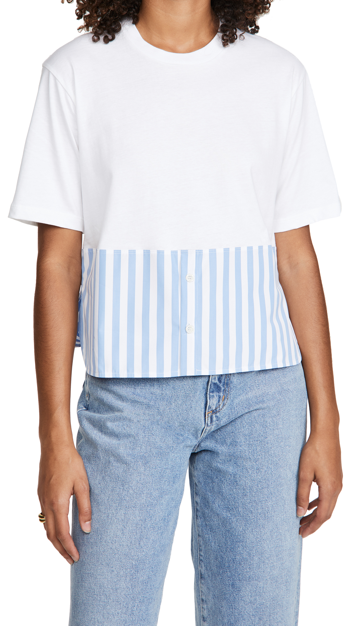 Marni Short Sleeve Stripe Crew Neck