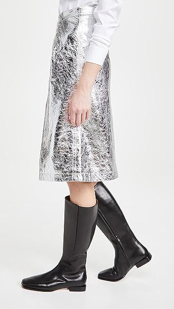 Marni 金属色皮半身裙