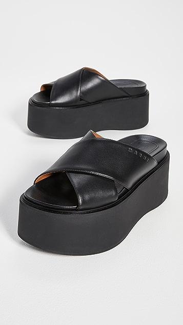 Marni 厚底坡跟凉鞋