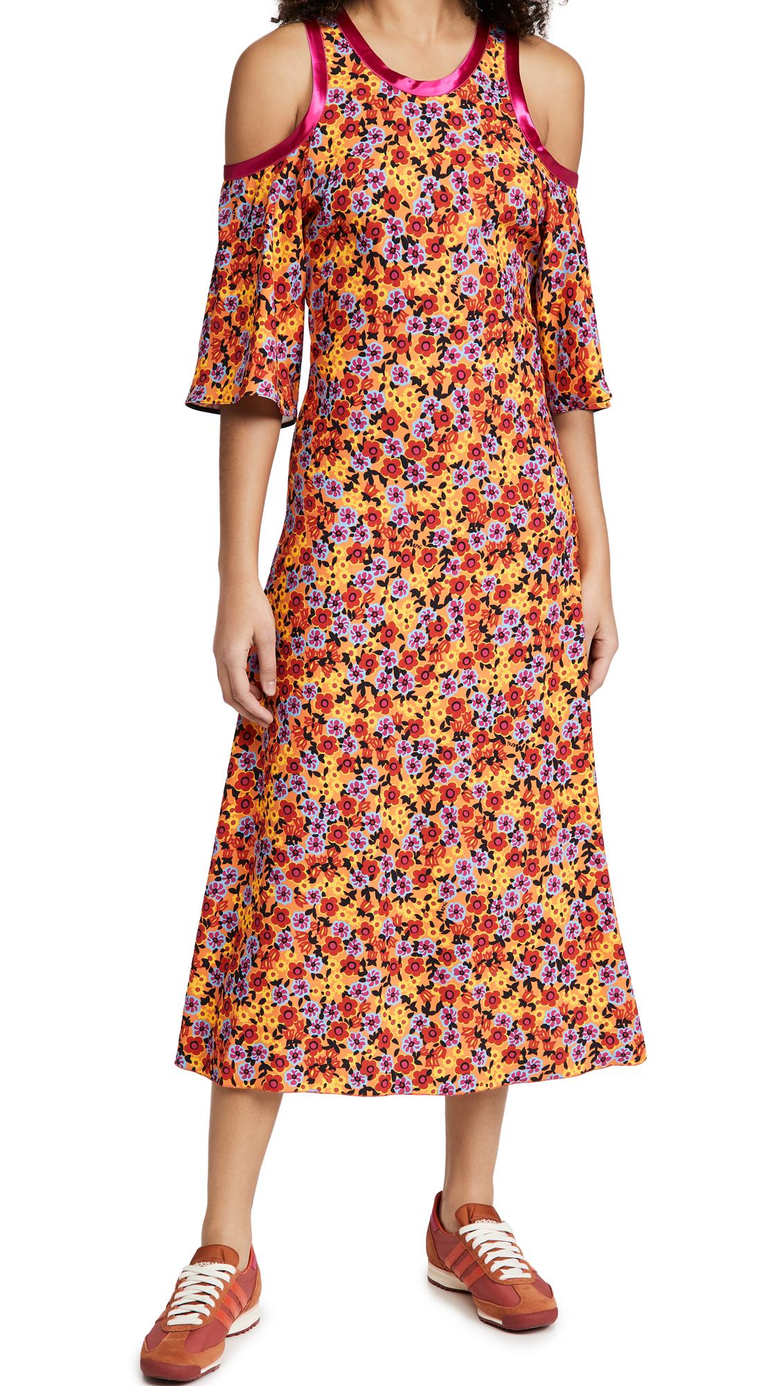 Marni FLORAL COLD SHOULDER DRESS