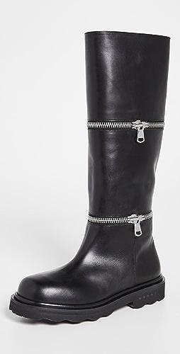 Marni - 分层拉链靴