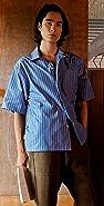 Marni Neptune Striped Short Sleeve Poplin Shirt