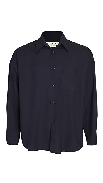 Marni Tropical Wool Button Down Shirt