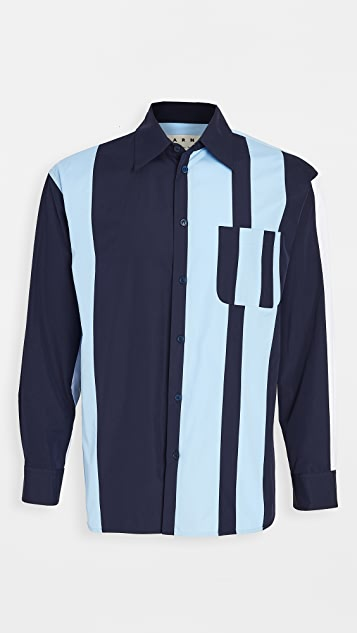 Marni Multi Stripe Colorblocked Poplin Button Shirt