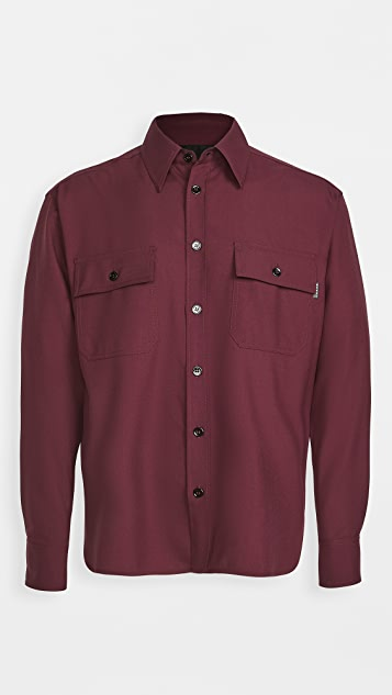 Marni Tropical Wool Tornado Embroidered Button Shirt