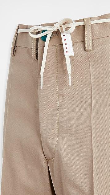 Marni Workwear Gabardine Belted Trousers