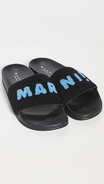 Marni Logo Embroidered Slides