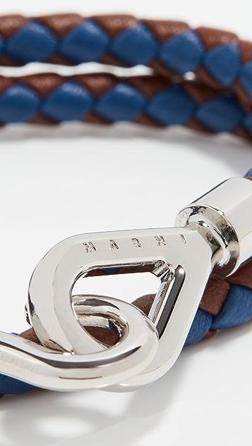 Marni Double Wrap Leather Braided Bracelet
