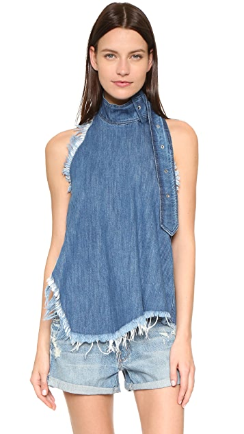 Marques Almeida Denim Halter Buckle Top