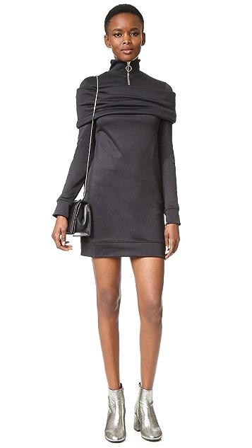 Marques Almeida Fleece Zip Up Dress with Overlay