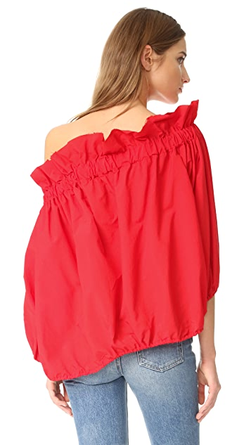 Marques Almeida Off The Shoulder Gathered Top