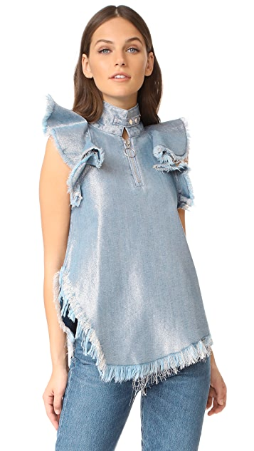 Marques Almeida Metallic Denim Top