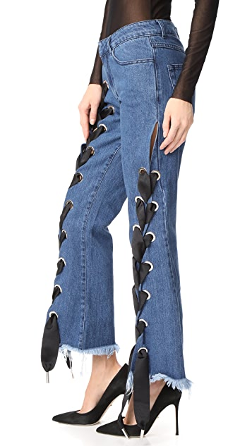 Marques Almeida Cropped Lace Up Capri Denim Trousers