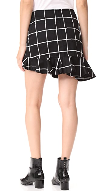 Marques Almeida Grid Suiting Ruffle Miniskirt