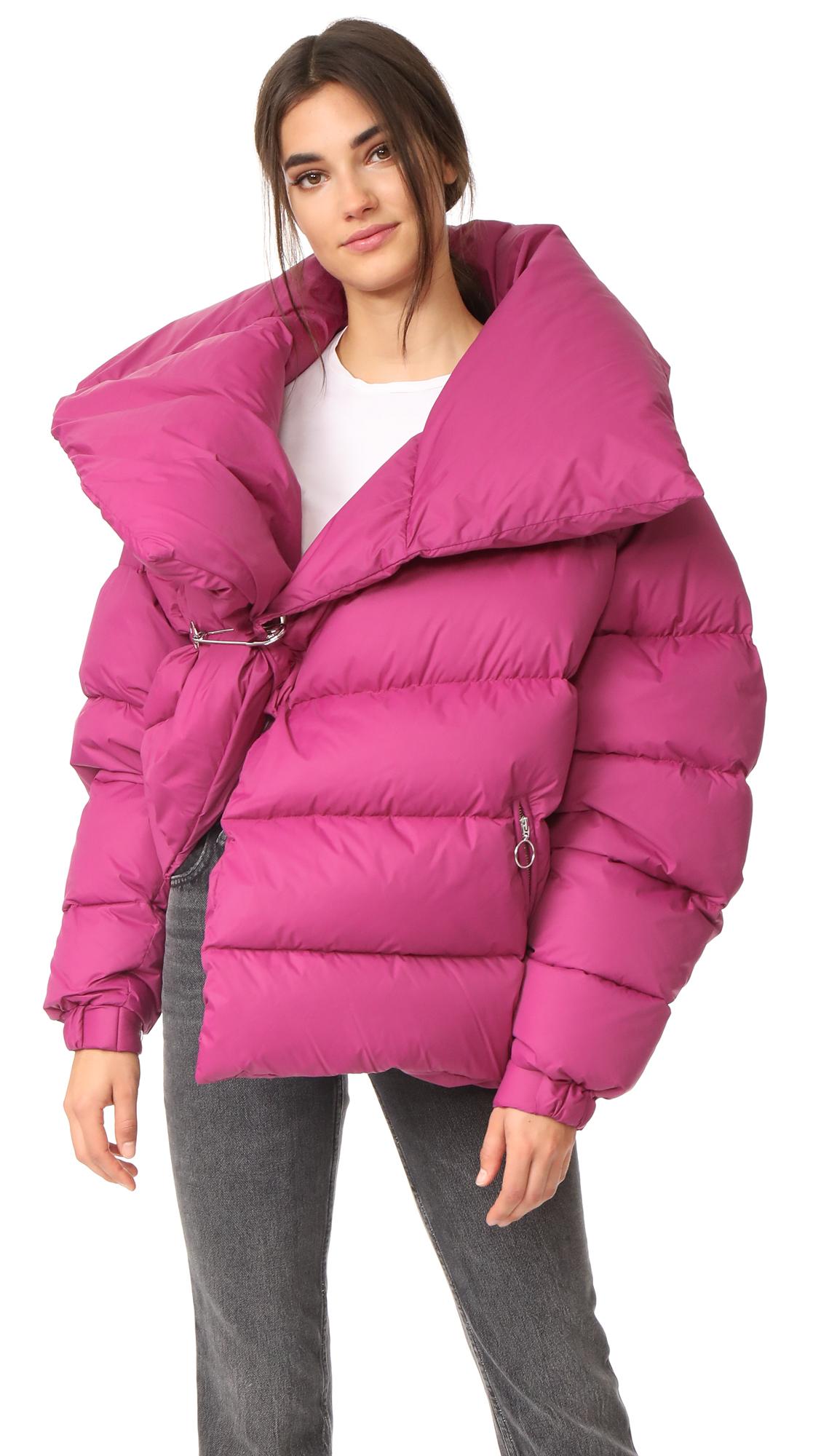 Oversized pink puffer jacket