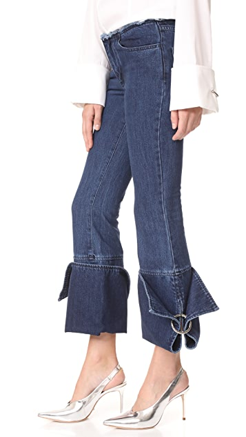 Marques Almeida Denim Big Cuff Capri Pants
