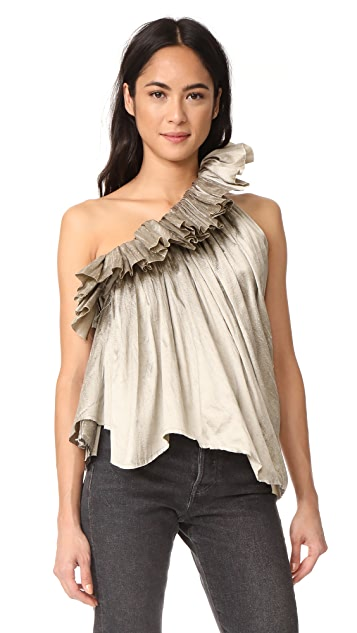 Marques Almeida One Shoulder Frill Top