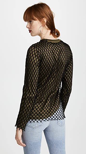 Marques Almeida Jersey Net Long Sleeve Top
