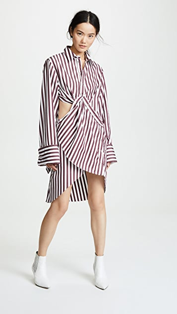 Marques Almeida Draped Cutout Shirt Dress - Burgundy/White Stripe