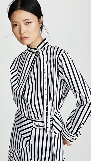 Marques Almeida Striped Buckle Blouse