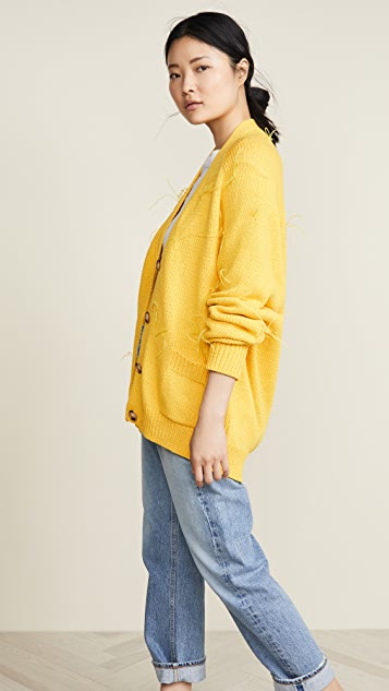 Marques Almeida Oversized Cardigan with Feather Pulls