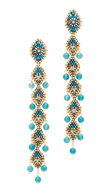 Miguel Ases Beaded Linear Drop Earrings
