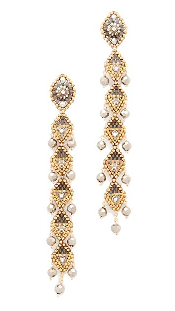 Miguel Ases Linear Drop Earrings with Dangling Beads