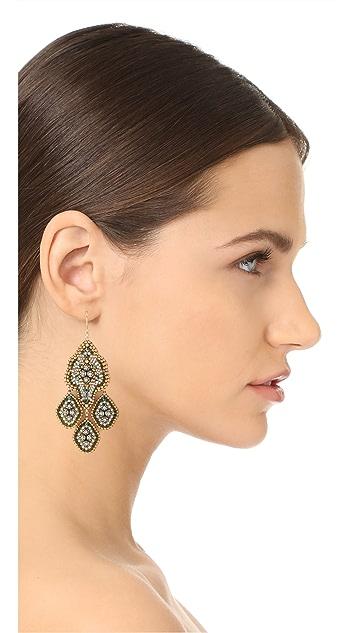 Miguel Ases Chandelier Beaded Dangle Earrings