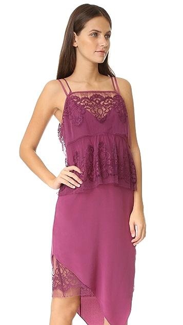 Michelle Mason Lace Tier Ruffle Dress