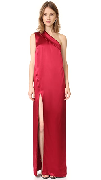 Michelle Mason Asymmetrical Lapel Gown